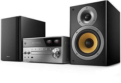 Philips btb8000/12 mini impianto stereo (dab+, bluetooth, usb direct, vu meter, 150 watt), argento/nero