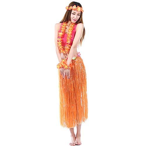 Hawaiian Kostüm Damen - BJ-SHOP Hawaii Set,Kostüm Hawaii Damen Mit Blumenstirnband Garland Wrist Flower und Rock Hawaiian Grass Rock für Mädchen Frauen Hawaiian Luau Beach Party