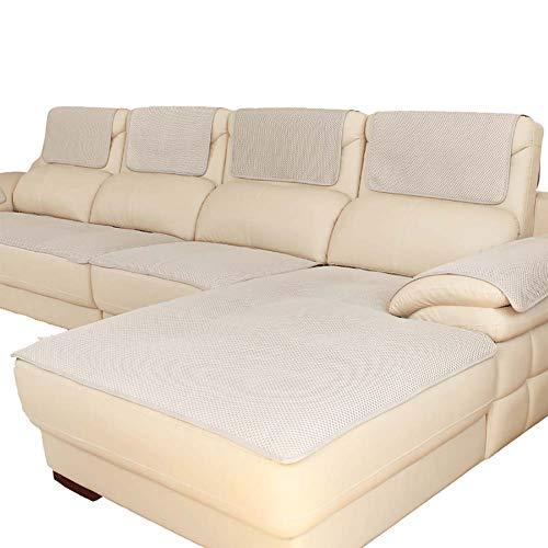 Funda de sofá para el sofá de Cuero, Multi-Size Rectangular Protector de Muebles Slipcover para los Animales domésticos, Niños, Perros - sofá y Silla-Beige 70x70cm(28x28inch)