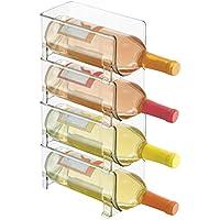 mDesign Soporte para botellas de vino apilable – Botellero para vinos con capacidad para 4 botellas