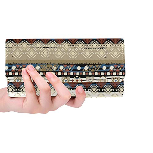 Einzigartige benutzerdefinierte ethnische Boho Tribal Art Frauen Trifold Wallet Lange Geldbörse Kreditkarteninhaber Fall Handtasche