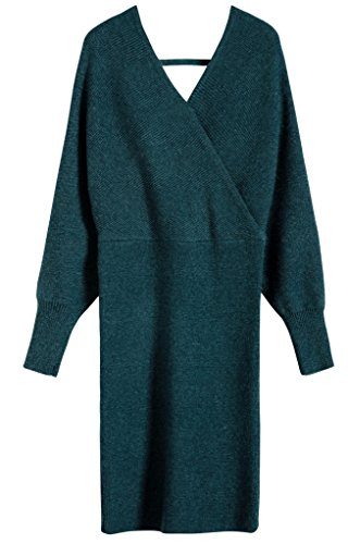 ... Vogueearth Donna's Lungo Manica V-neck Slim-Fit Sexy Knit Maglieria  Sweater Vestito Pullover ...