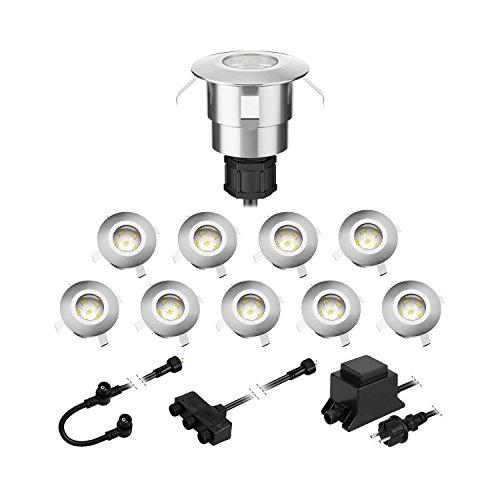 parlat LED Boden-Einbauleuchte Atria für außen Aluminium kalt-weiß, je 14lm, IP65, 40mm Ø 10er Set
