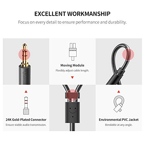 41Z69qZESOL. SS500  - UGREEN RCA 3.5mm Adapter Cable 2 Phono Female to Male Aux Mini Jack Stereo Headphone Audio Lead Compatible With iPhone…