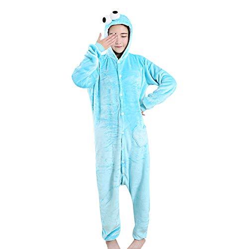 Christmas Kostüm Cookie - DUKUNKUN Erwachsene Pyjamas Cookie Anime Pyjamas Kostüm SamtBlau Cosplay Für Tier Nachtwäsche Cartoon Halloween Festival/Urlaub/Weihnachten,XL