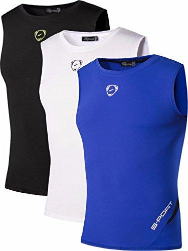 jeansian Herren Sportswear 3 Packs Sport Quick Dry Compression Tank Tops Vests Shirt LSL208 PackA S