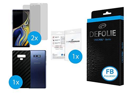 Crocfol FULLBODY frustfreier Bildschirmschutz für Samsung Galaxy Note 9: 2x DIEFOLIE Schutzfolie Vorderseite [FULLCOVER] & 1x CROCFOL ART Carbon für die Rückseite [BACKCOVER], inkl. 1x DASFLÜSSIGGLAS