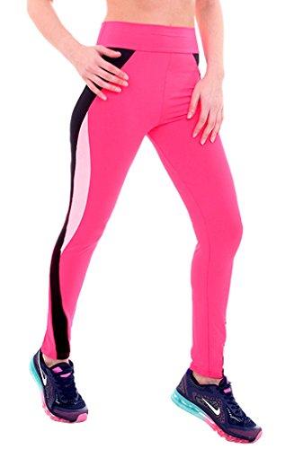 Smile YKK Legging Minceur Femme Pantalon Yoga Jogging Running Sport Casual Elastique Respirant Rouge