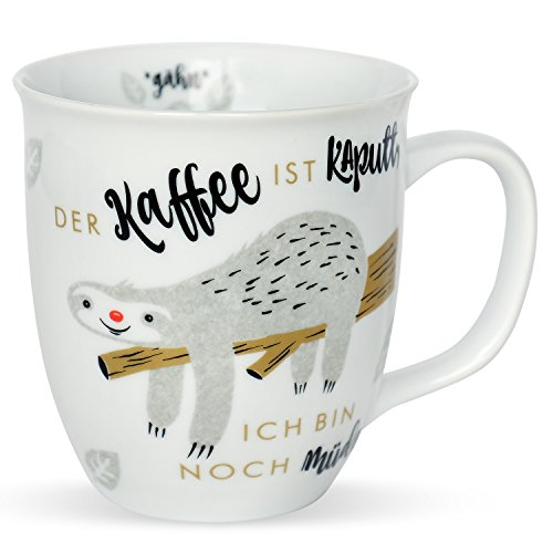 Happy Life 45180 Tasse mit Spruch Der Kaffee ist kaputt, ich bin noch müde, Tier-Motiv, Faultier, Porzellan, Geschenk-Tasse