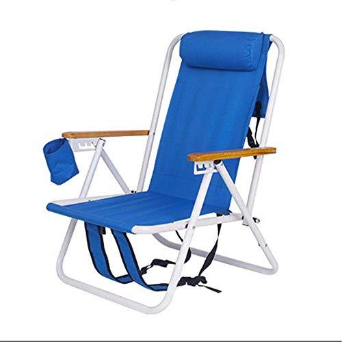 Outdoor Strand Camping Klappstuhl Tragbarer Rucksack Stuhl mit Getränkehalter, Holz Armlehne und Kopfstütze für Camping, Strand, Reisen (blau)