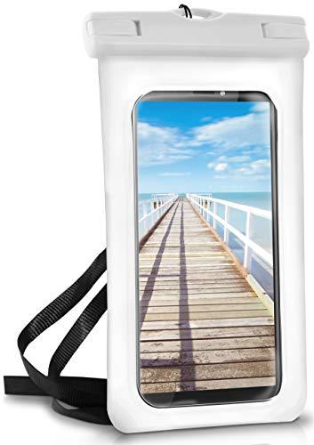 ONEFLOW® wasserdichte Handy-Hülle für alle HTC Modelle | Touch- und Kamera-Fenster + Armband & Schlaufe zum Umhängen, Weiß (Pear-White)
