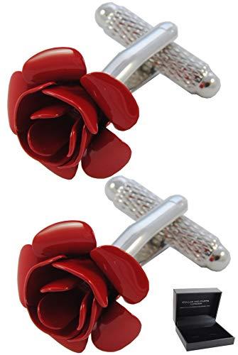 COLLAR AND CUFFS LONDON - Boutons de Manchette avec Boite-Cadeau - Grand Qualité - Rose Rouge - Laiton - Couleur Rouge - Rond Fleur Jardin Valentin Ro