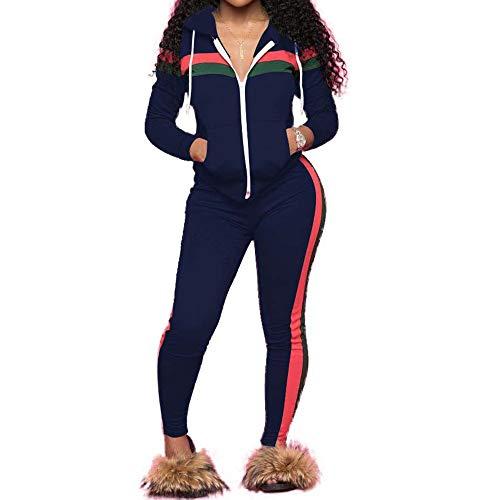 MINTLIMIT Damen Trainingsanzug Kurze Ärmel Freizeitanzug Jogginganzug Sportanzug Beiläufig Sportjacke Streifen Reißverschluss Kapuzenpullover Hemd Hüfte Hosen (Lange Marine, XL)