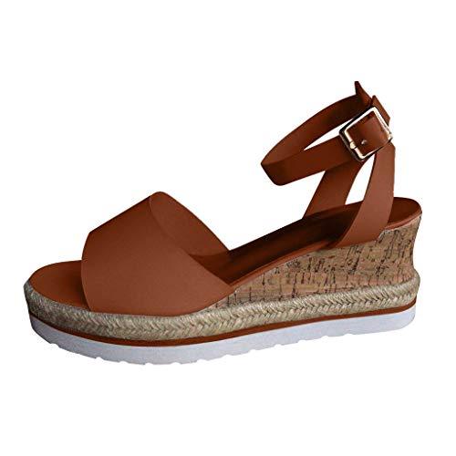 UOWEG Wedges Sandalen für Damen Retro Open Toe Breathable Knöchel Plattform Wedges Schuhe Damen Römersandalen Patent Open Toe Plattform