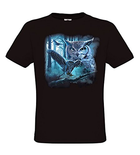 Ethno Designs Wildlife - Owl Vat - Tiermotiv Raubvögel - Eulen T-Shirt für Damen & Herren - regular fit Black