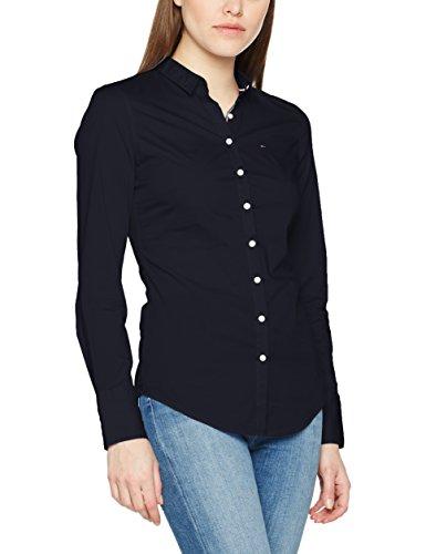 Tommy Jeans Hilfiger Denim Damen Bluse Tjw Basic Stretch Shirt L/S 1, Blau (Total Eclipse 422), 10 (Herstellergröße: Medium)