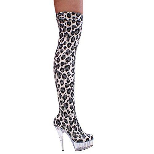 Donne Lungo Stivali Al di sopra di Ginocchio Leopardo Super alto tacchi Modello Discoteca Pole dance Scarpe