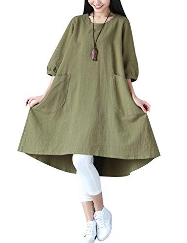 Youlee Damen Große Taschen Unregelmäßiges Kleid Grün