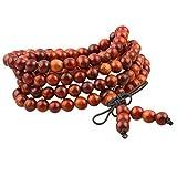 KYEYGWO 108 Natürlich Holz 6mm Mala Perlen Armband für Damen Herren, Meditation Gebet Wickelarmbänder Tibetisch-buddhistischen Stretch-Armbänder Halskette