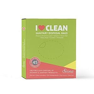Sirona Sanitary Disposal Bags   for Discreet Disposal of Tampons, Condoms, Diaper, Sanitary Pads, Panty Liner   Bathroom Trash Bag