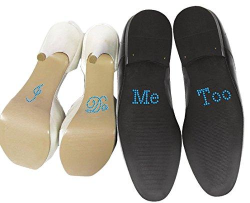 """Schuhsticker-Set mit englischsprachiger Aufschrift """"I Do"""" und """"Me Too"""" aus Strass, für Hochzeitsschuhe, Aufkleber, Silber"""
