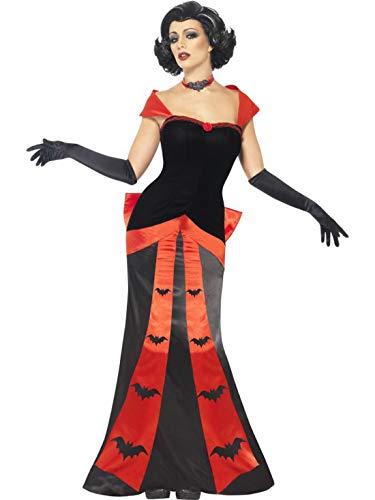 Luxuspiraten - Damen Frauen Kostüm Party Vamp verführerische Vampirin Dracula Kleid mit Handschuhen und Halsband, perfekt für Halloween Karneval und Fasching, L, Schwarz