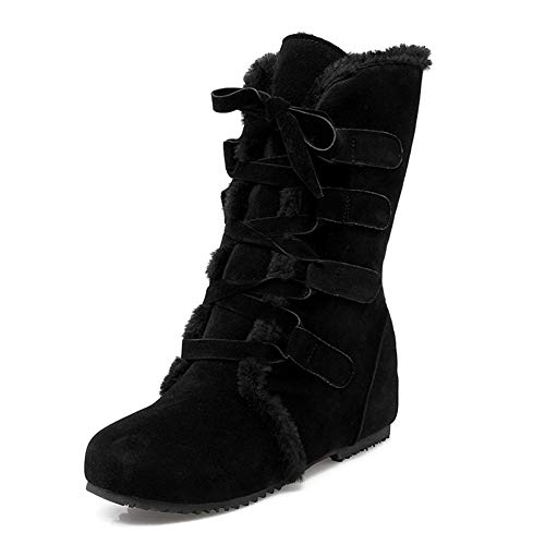 LFEU Damen Winter Schnee Stiefel Plüsch gefüttert Wasserdichte warme Keilschuhe Faux Wildleder Flache Schnürschuh Ankle Bootie -