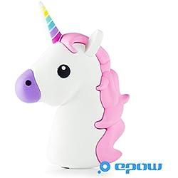 EPOW® Caricabatteria Unicorno 2600mAh EMOJI Power Bank Unicorne Horse, emoticon batteria portatile Fun Pokemon GO, caricabatteria esterno per iPhone, Samsung, Compatibile con tutti gli smartphones