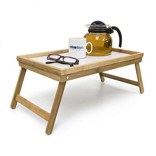 Relaxdays Vassoio da Letto O da Poltrona Pieghevole in Bambù 30 X 50 cm, per Colazione, Marrone/Bianco