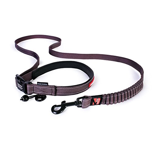 ezydog-road-runner-zero-shock-dog-lead-soft-touch-reflective-hands-free-leash-84-210cm-chocolate