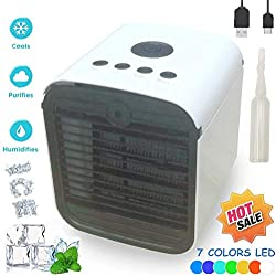 Climatiseur Mobile Air Mini Cooler - Rafraichisseur d'air & Ventilateur, 3-en-1 Portable Climatiseur Humidificateur Purificateur, Leakproof, New Filter Paper