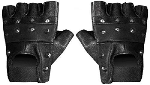 PURECITY© Produit Original - Gants Mitaines Cloutés Clous 100% Cuir Noir - Airsoft Paintball Moto Conduite Musculation Outdoor (Large)