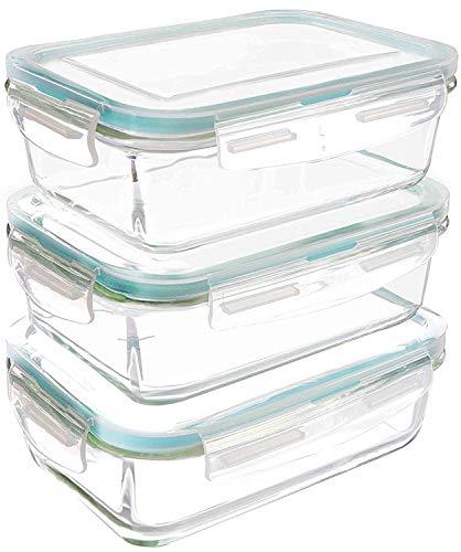 Kichly set di contenitori per alimenti in vetro - 6 pezzi (3 contenitori + 3 coperchi)- coperchi trasparenti - senza bpa - 840 ml - per cucina domestica o ristorante