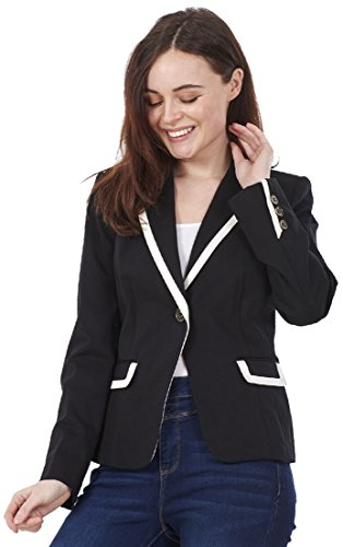 Ex Famous Store Ladies Smart Fitted Casual Jacket Black Single Breasted Lined Blazer