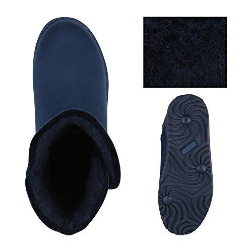 Damen Schuhe Schlupfstiefel Warm gefüttert Blau Knopf