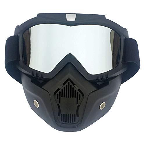 Bishilin Motorradbrille Retro Schneebrille Retro Arbeitsbrille Antibeschlag Schutzbrille Vertikal Schwarz Silber