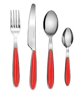 EXZACT Posate Acciaio Inossidabile con Manici di Colore 24 PZ- 6 Forchette, 6 Coltelli Cena, 6 Cucchiai Cena, 6 Cucchiaini (Rosso x 24)(EX07 Set)