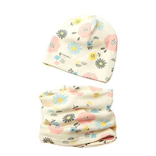 Boomly Baby Kinder Baumwolle Beanie Mütze Hut Mit Loop Schal Herbst Winter Drucken Absicherungskappe Hedging Cap Schal Halsbänder Schal Caps Set (Style#4, 3-6 Jahre alt)