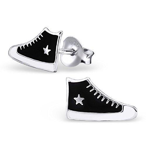 Laimons - Orecchini bambina - sneaker bianco/nero - argento Sterling 925