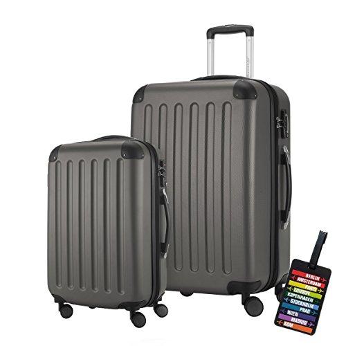 HAUPTSTADTKOFFER® · 2er Hartschalen Kofferset · SPREE 1203 · Handgepäck 49 Liter + Reisekoffer 82 Liter · in verschiedenen Farben + DESIGN KOFFERANHÄNGER (Graphit)