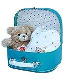 Liebevoll zusammengestelltes Baby Geschenk Junge - Nicky Strampler von Steiff und Plüsch-Bär von Teddy Hermann in Kinderkoffer