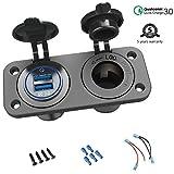 QC 3.0 USB Steckdose KFZ 12V/24V, Quick Charge 3.0 Auto Ladegerät Einbau Buchse Wasserdicht...