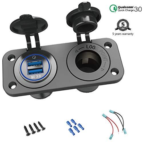 QC 3.0 USB Steckdose KFZ 12V/24V, Quick Charge 3.0 Auto Ladegerät Einbau Buchse Wasserdicht Zigarettenanzünder USB Dose Kfz Adapter für Wippschalter Panel auf Motorrad Boot LKW Wohnwagen ATV - Auto-ladegerät 3 Usb