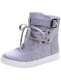 Minetom Mujer Otoño E Invierno Botas Hebilla Sólida Lona High Top Zapatos Cargadores Cómodo Botines