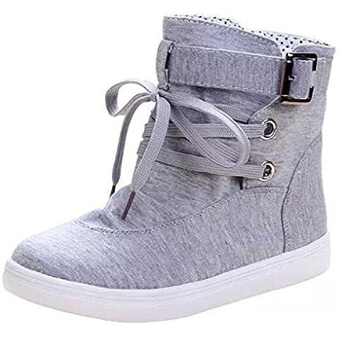 Minetom Mujer Otoño E Invierno Botas Hebilla Sólida Lona High Top Zapatos Cargadores Cómodo