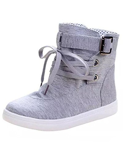 Minetom Mujer Otoño E Invierno Botas Hebilla Sólida Lona High Top Zapatos Cargadores Cómodo Botines Gris EU