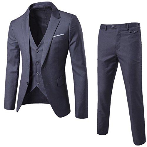 Herren Anzug 3 Teilig Slim Fit 2-Knopf mit Weste Sakko Anzughose Business Smoking Hochzeitsanzug von Harrms,Schwarz,EU 50 Test