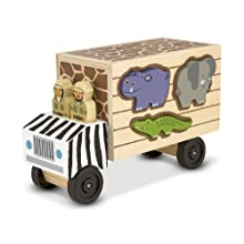 Melissa & Doug 15180 Rescue Shape Sorting Truck Wooden Toy with 7 Animals and 2 Play Figures