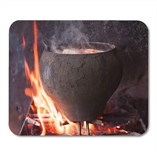 Mauspads Schwarzer heißer großer Kessel auf Feuer-Gusseisen-alter Suppen-Mausunterlage für Notizbücher, Tischrechnermatten Bürozubehöre