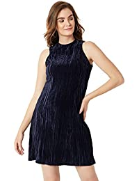 Miss Chase Women's Navy Blue Velvet Shift Dress